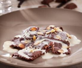 Ravioli di cioccolato con crema alla vaniglia