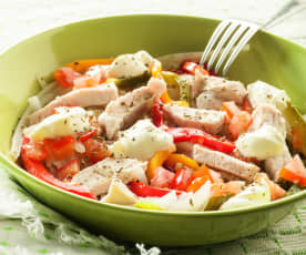 Chicken, Pepper and Steamed Vegetable Salad