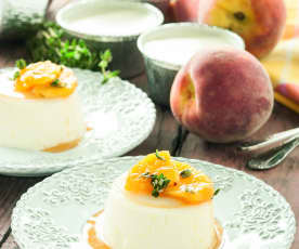 Panna Cotta with Peaches and Thyme Syrup