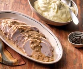 Varkenslendegebraad met aardappelpuree