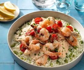 Trio van rijst, vis en groenten