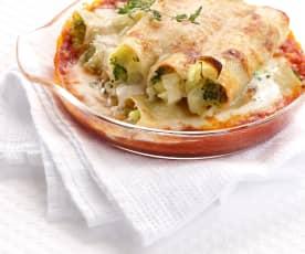 Gratinované cannelloni plněné pórkem a brokolicí