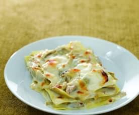 Lasagne carciofi e crema di stracchino