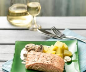Salmon in mushroom cream sauce with potatoes