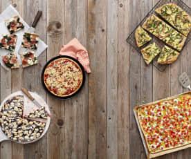 Pizza mit Bohnen und Schinken