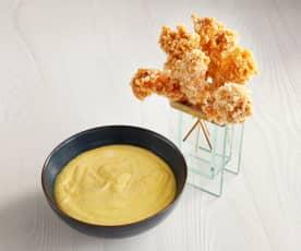 Brochettes de gambas croustillantes, sauce à la mangue