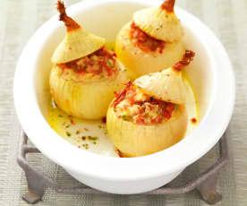 Oignons farcis au jambon
