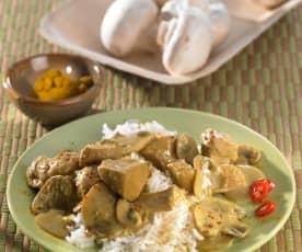 Kari kuře se žampióny a basmati rýží
