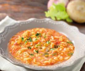 Zuppa di risoni, pancetta e verdure