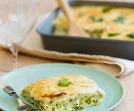 Lasagne z domową ricottą i zielonymi warzywami