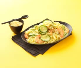 Pasta with Prawns, Courgettes and Lemon