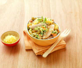 Barevná vřetena se zeleninou a kuřecím masem