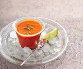 Velouté poivron rouge-citron vert