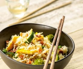 Asian-style rice with eggs and vegetables