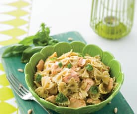 Salmon Farfalle with Pesto