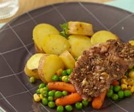 Vepřové maso na česneku se zeleninou a bramborami