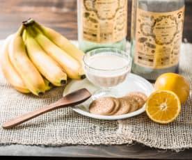 Yogur de plátano, naranja y cereales