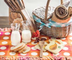 Yogur líquido de naranja y cereales