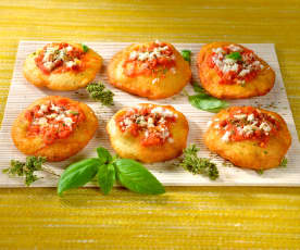 Fried Cheese and Tomato Pizzas