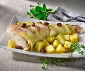 Coda di rospo al Varoma in crosta di patate