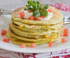 Courgette, Corn and Ricotta Pancakes