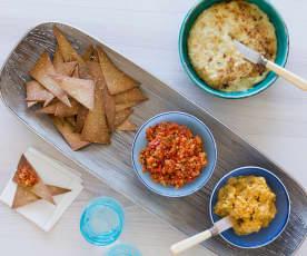 Chia- en quinoatortilla's met een trio van dips
