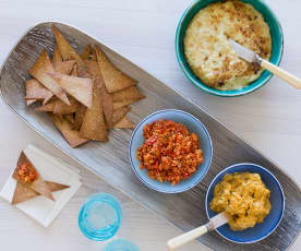 Chia and Quinoa Tortillas with a Trio of Dips