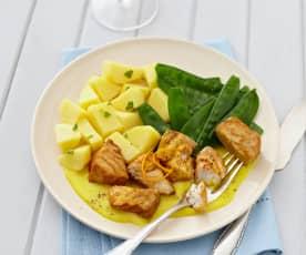 Seelachs mit Kartoffeln, Kaiserschoten und Orangen-Frischkäse-Sauce