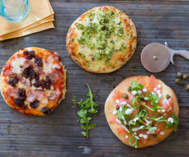 Pizza Dough with a Trio of Toppings