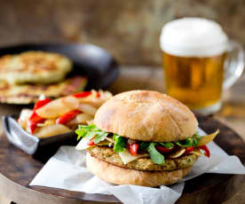 Turkey Burgers with Caramelized Onions and Red Peppers