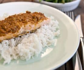 Salmon Tikka Dinner with Steamed Rice