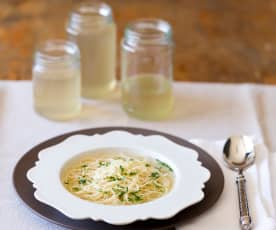 Traditional chicken broth with angel hair pasta