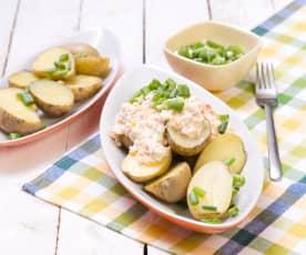 Brambory s tvarohem a zeleninou
