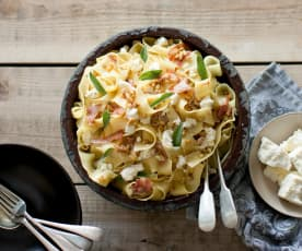 Pancetta, pine nut and ricotta pappardelle