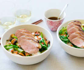 Five spice duck with mushrooms and Asian greens