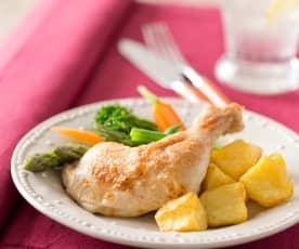 Lemon chicken with crispy potatoes