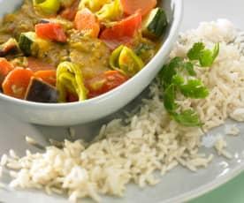 Curry warzywne z ryżem