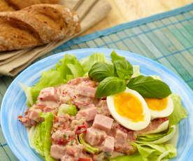 Jarní salát se šunkou a vejci