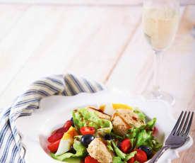 Tuna and Amaranth Patties with Cranberry Vinaigrette Salad