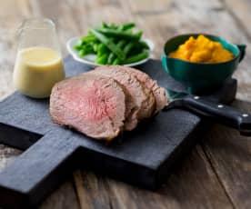 Pocket roast beef with seeded mustard sauce