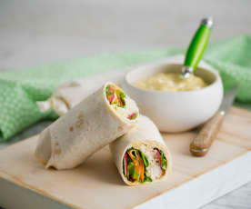 Turkey and lemon aioli wraps