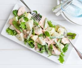 Salmon, asparagus and potato salad