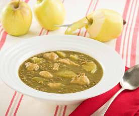 Lentejas al curry con pollo y manzana