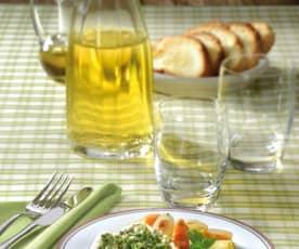 Merluzzo agli aromi, con zucca e patate