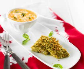 Filetes de peixe com arroz malandro de cenoura