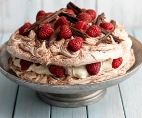 Malinovo-čokoládový dort Pavlova