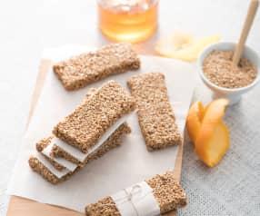 Barritas de sésamo, miel y cítricos