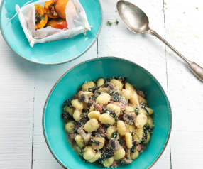 Gnocchi with Sausages and Steamed Spinach, Apricots with Honey and Walnuts
