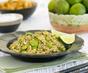 Freekeh pilaf with broad beans