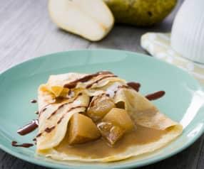 Crêpes con pera y chocolate
